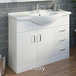 1050mm Floorstanding Bathroom Vanity Unit & Basin Single Tap Hole White Gloss
