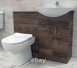 1050mm Walnut Oak Finish Bathroom Furniture Vanity Set Basin Sink + Toilet Unit