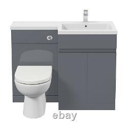 1100mm Bathroom Vanity Unit Basin Sink Toilet Combined Furniture Left Hand Grey