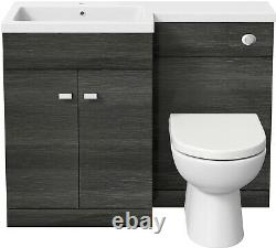 1100mm Bathroom Vanity Unit Basin & Toilet Combined Furniture Left Hand Grey