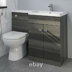 1100mm Bathroom Vanity Unit Basin & Toilet Combined Furniture Right Hand Grey