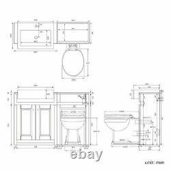 1167mm Midnight Grey Combined Vanity Unit Back to Wall Pan Toilet Wc floor stand
