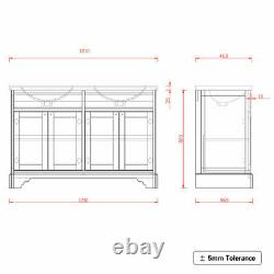 1200mm Traditional 4 Door Grey Double Sink Unit Sink Basin Vanity Floor Standing