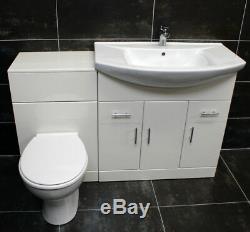 1250mm Bathroom Furniture Vanity Set 750mm Basin Sink Unit + WC Toilet Unit