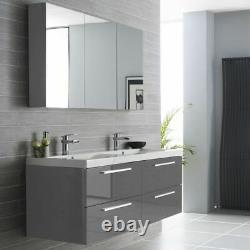 1440mm Wall Hung Basin Double Unit Graphite Grey His Hers Basin Storage Drawers