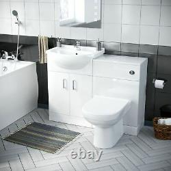3 piece Bathroom Suite Back To Wall Toilet Basin Vanity Unit and Bath Laguna