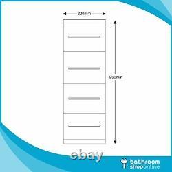 300mm Bathroom Cloakroom Vanity Gloss White Furniture Storage Units 4 Draw