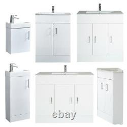 400 600 800 1000mm Bathroom Cloakroom Vanity Unit with Basin White Grey Oak