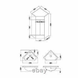 400 mm 2 Door Corner Basin Vanity Unit Cloakroom Sink Storage Cabinet Zeller