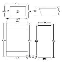 400mm Anthracite Grey Bathroom Vanity Unit Basin Sink Cabinet & Black Mixer Tap