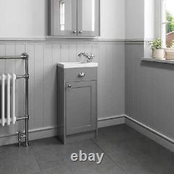 400mm Bathroom Vanity Unit Basin Sink Storage Cabinet Furniture Grey Traditional