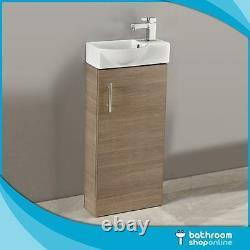 400mm Oak Floor Standing Bathroom Vanity Unit Compact Cloakroom Rounded Basin