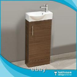 400mm Walnut Floor Standing Bathroom Vanity Unit Compact Cloakroom Rounded Basin