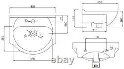 450mm Bathroom Floorstanding Vanity Unit with Single Tap Hole Basin White Gloss