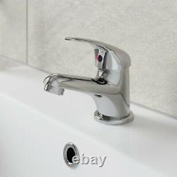 450mm Bathroom Vanity Unit & Basin Sink Floorstanding Gloss White Tap + Waste