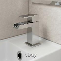 450mm Bathroom Vanity Unit & Basin Sink Floorstanding Gloss White Tap and Waste