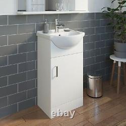 450mm Bathroom Vanity Unit Floor Standing Basin Sink Single Tap Hole White Gloss