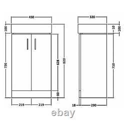 450mm White Bathroom Cloakroom 2 Door Soft Close Vanity Unit Ceramic Basin Sink