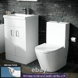 500 Basin Vanity & WC Toilet Pan and Soft Close Seat Bathroom Suite Nanuya