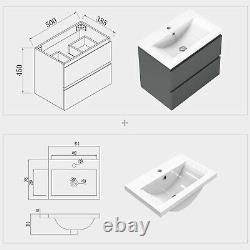 500 Grey Bathroom Vanity Unit with Sink Wall Hung Storage Cabinet Pre-assembled