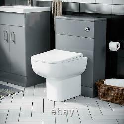 500 mm Light Grey Basin Sink Vanity Unit & WC Toilet Pan Cabinet Suite Debra