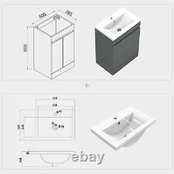 500mm Floor Standing Grey Bathroom Vanity Unit and Sink Basin Home Furniture