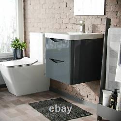 500mm Grey Wall Hung Basin Vanity Unit 2 Drawer Bathroom Storage Cabinet Gloss