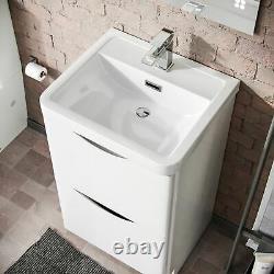 500mm White Floor-standing Basin Vanity Unit 2 Drawer Storage Cabinet Gloss