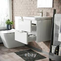 500mm White Wall Hung Basin Vanity Unit 2 Drawer Bathroom Storage Cabinet Gloss