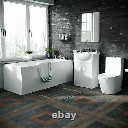 550 Basin Vanity Unit, Close Coupled WC Toilet Straight Edge Bath Bathroom Suite