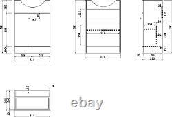 550mm Bathroom Basin Sink Vanity Unit Floor Standing Single Tap Hole Matte White
