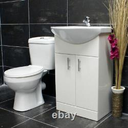 550mm Bathroom Cloakroom Vanity Basin Sink Unit &Toilet Suite Set