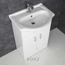 550mm Bathroom Vanity Unit & Basin Sink Floorstanding Gloss White Tap + Waste