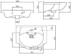 550mm Bathroom Vanity Unit & Basin Sink Gloss White Floorstanding Tap + Waste