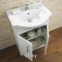 550mm Bathroom Vanity Unit Ceramic Basin Sink Gloss White Doors 550V