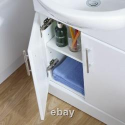 550mm Gloss White Freestanding Basin Vanity Storage Cabinet Modern Unit