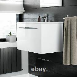 600 Wall Hung Cloakroom Basin Vanity Unit 1 Drawer Bathroom Cabinet Emerald