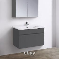 600 mm Bathroom Basin Sink Vanity Unit Wall Hung Storage Gloss Grey Furniture