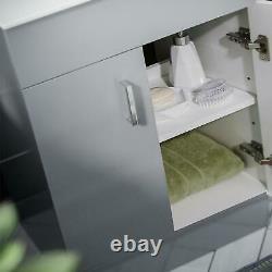 600 mm Light Grey Vanity Basin Sink Unit & WC Toilet Pan Cabinet Suite Debra