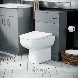 600 mm Light Grey Vanity Cabinet with Basin Sink & WC Toilet Pan Unit Suite