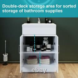 600mm Bathroom Basin Sink Vanity Unit White Basin Storage Cupboards Furniture