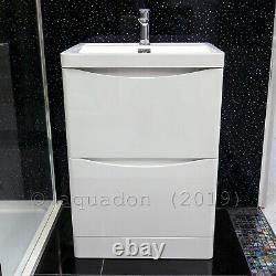 600mm Bathroom Vanity Basin Unit Storage 2 Drawer Cabinet Furniture White Gloss