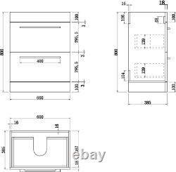 600mm Bathroom Vanity Unit Basin Drawer Storage Cabinet Furniture Gloss White