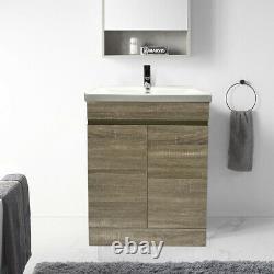 600mm Bathroom Vanity Unit Basin Sink Storage 2 Door Cabinet Furniture Grey Oak