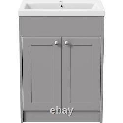 600mm Bathroom Vanity Unit Basin Sink Storage Cabinet Furniture Grey Traditional