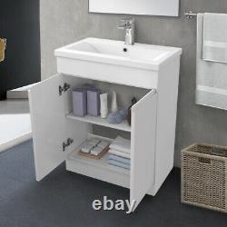 600mm Bathroom Vanity Unit Basin Sink Storage Floor Standing Cabinet Gloss White