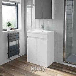 600mm Bathroom Vanity Unit Basin Storage 2 Door Cabinet Furniture White Gloss