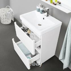 600mm Bathroom Vanity Unit Basin Storage 2 Drawer Cabinet Furniture Gloss White