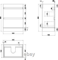 600mm Bathroom Vanity Unit Basin Storage 2 Drawer Cabinet Furniture Grey Gloss