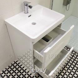600mm Bathroom Vanity Unit Basin Storage 2 Drawer Cabinet Furniture White Gloss